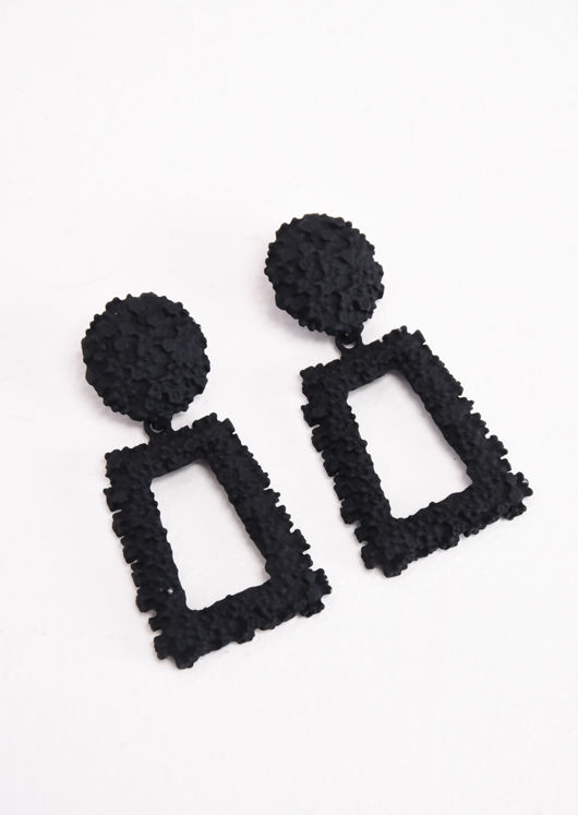 Chunky Geometric Hammered Drop Earrings Matte Black