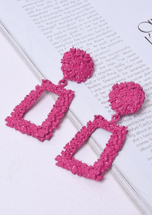 Chunky Geometric Textured Statement Earrings Fuchsia Pink