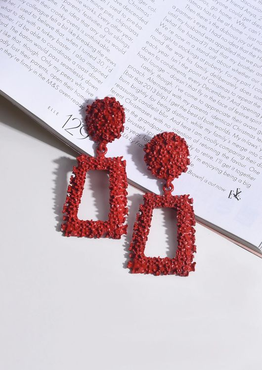 Chunky Geometric Textured Statement Earrings Red