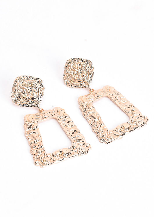 Chunky Hammered Square Drop Earrings Gold
