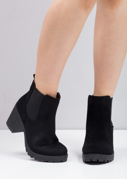 Cleated Platform Elasticated Chelsea Ankle Boots Black