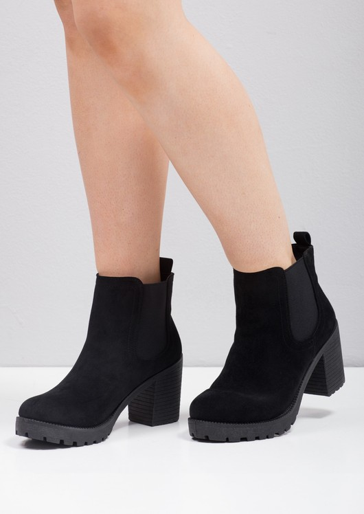 3 inch black ankle boots