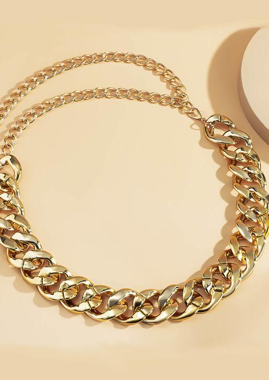 Chunky Hook On Chain Waist Belt Gold