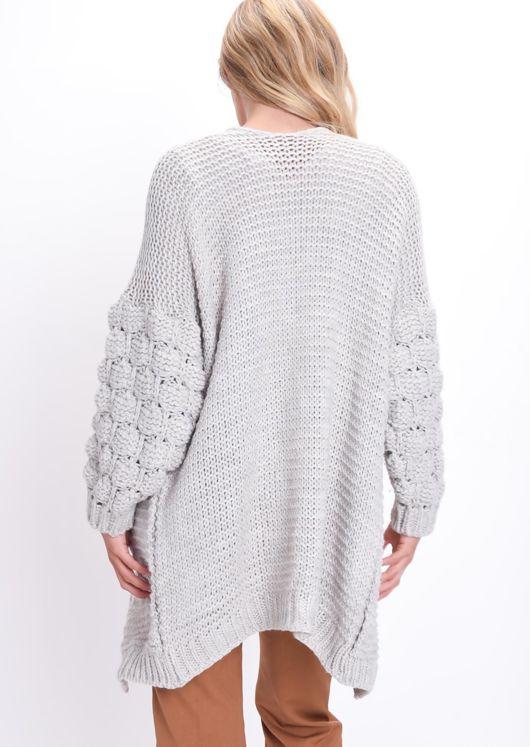 Chunky Knit Sleeves Longline Cardigan Beige