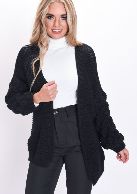 e3f722be5ab Chunky Knit Bubble Sleeve Longline Cardigan Black