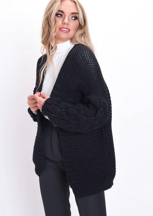 Chunky Knit Sleeves Longline Cardigan Black