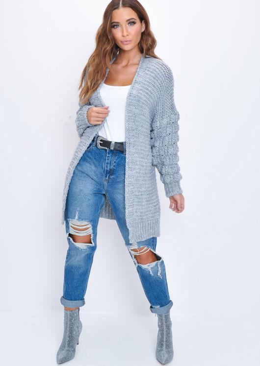 Chunky Knit Sleeves Longline Cardigan Grey