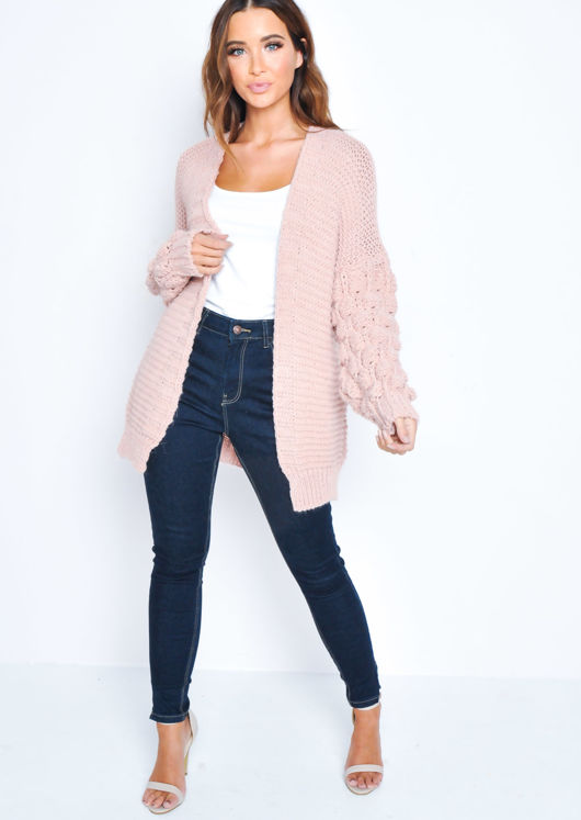 Chunky Knit Sleeves Longline Cardigan Pink