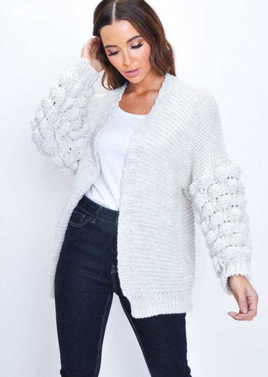 Chunky Knit Sleeves Wool Cardigan Cream White