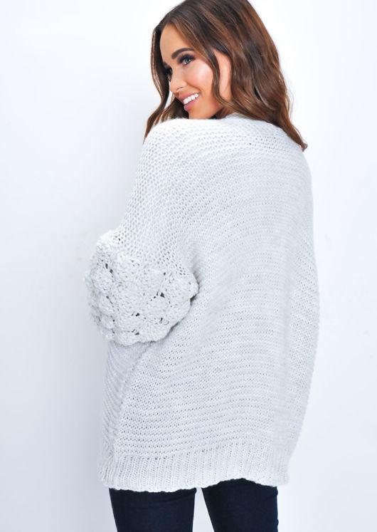 Chunky Knit Sleeves Wool Cardigan Cream White