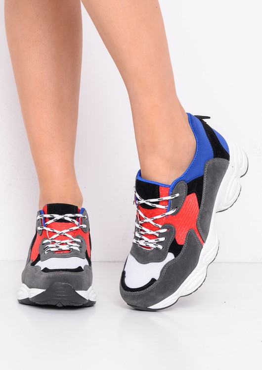 Chunky Colour Block Lace Up Trainers Blue