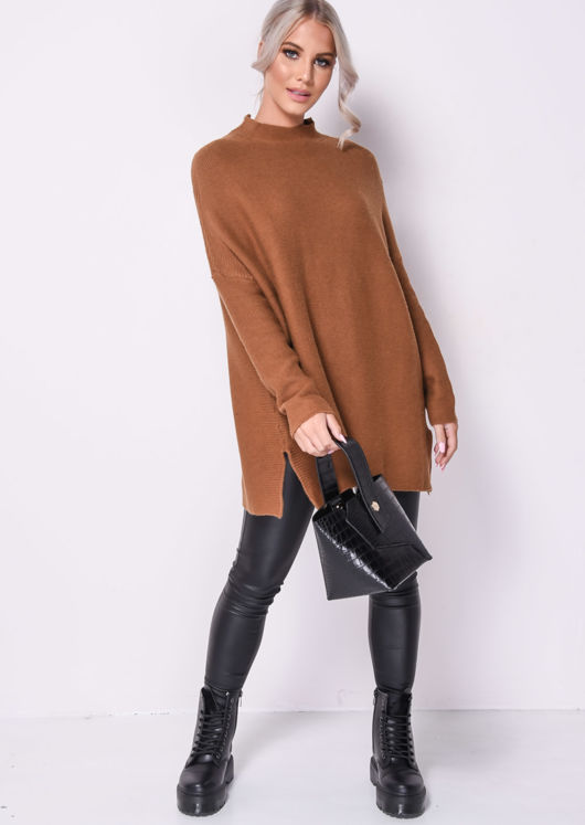 Chunky Mock Neck Camel Knitted Oversized Jumper Brown