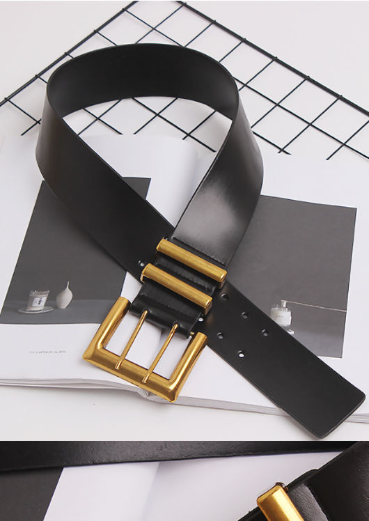 Leather Chunky Oversized Double Buckle Belt Gold