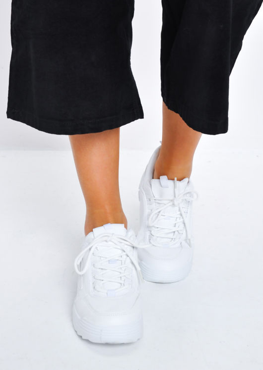 Chunky Sole Lace Up Trainers White
