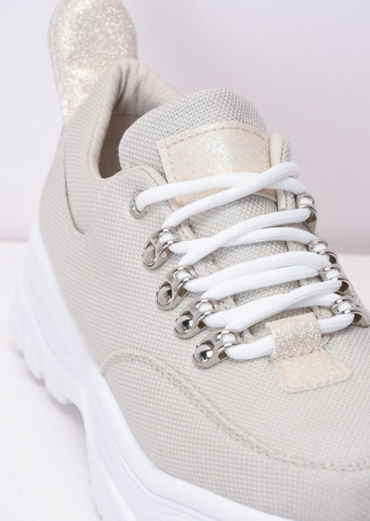 Chunky Sole Platform Lace Up Trainers Beige