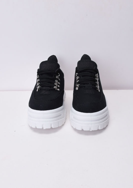Chunky Sole Platform Lace Up Trainers Black