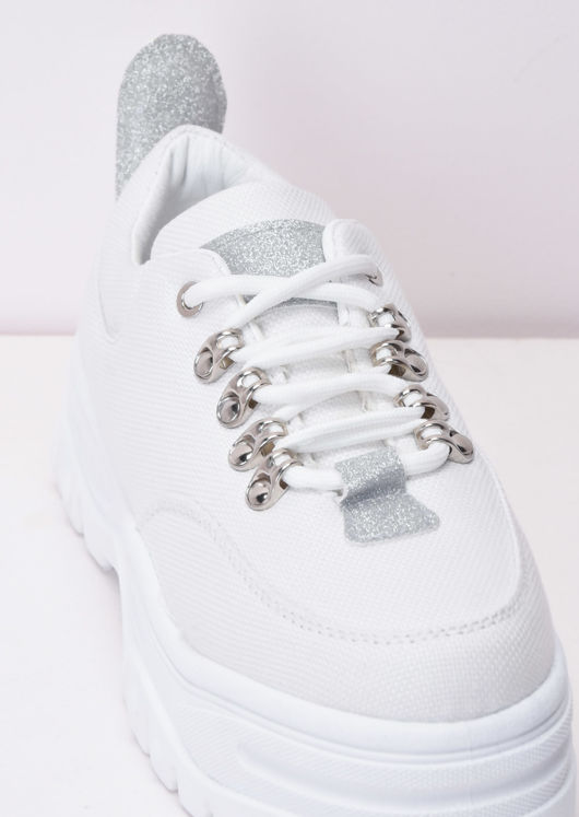 Chunky Sole Platform Lace Up Trainers White