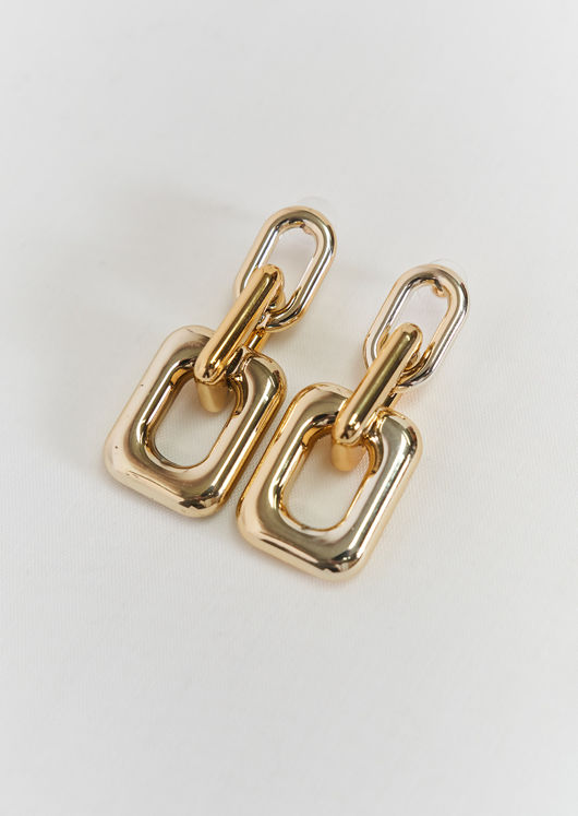 Chunky Square Linked Drop Alloy Earrings Gold