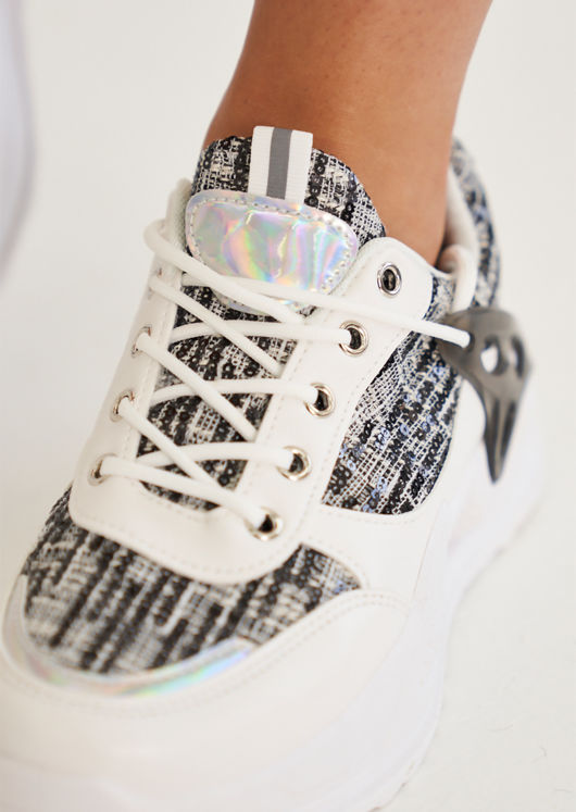 Chunky Tweed Sequined Lace Up Trainers Black