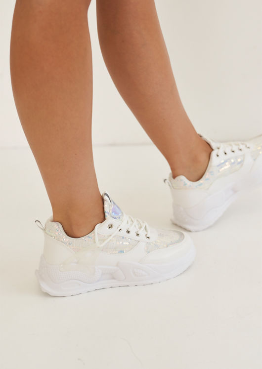 Chunky Tweed Sequined Lace Up Trainers White