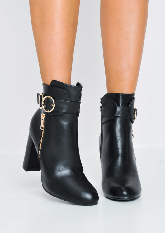 Circle Buckle Chunky Block Heeled Ankle Boots Black
