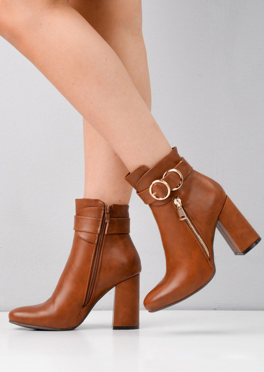 d19d4de29444f Circle Buckle Chunky Block Heeled Ankle Boots Camel