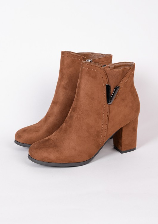 Classic Faux Suede Side Zip Heeled Ankle Boots with Metal Detailing Camel Brown