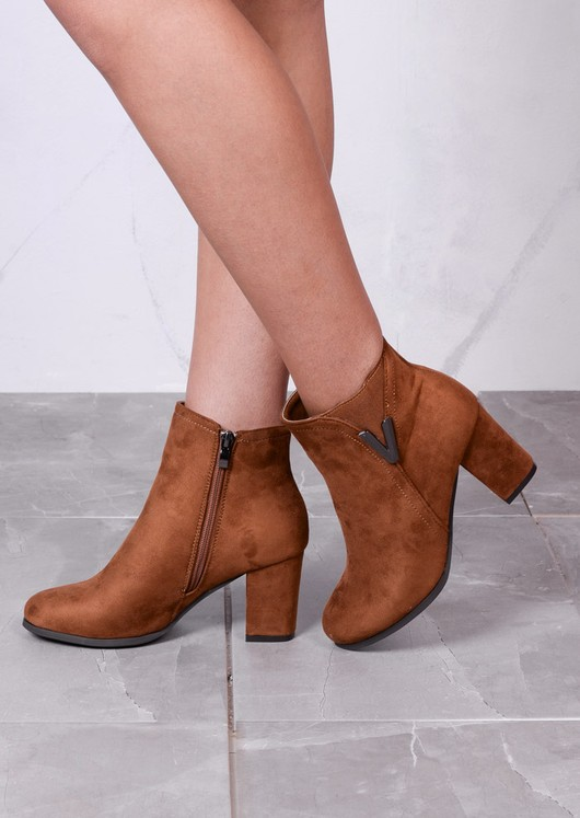 Classic Faux Suede Side Zip Heeled Ankle Boots with Metal Detailing Camel