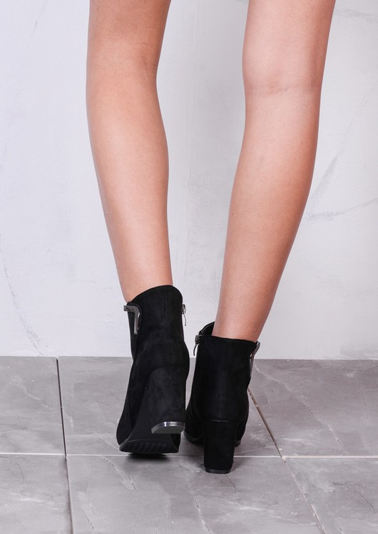 Classic Faux Suede Side Zip Heeled Ankle Boots with Metal Detailling Black