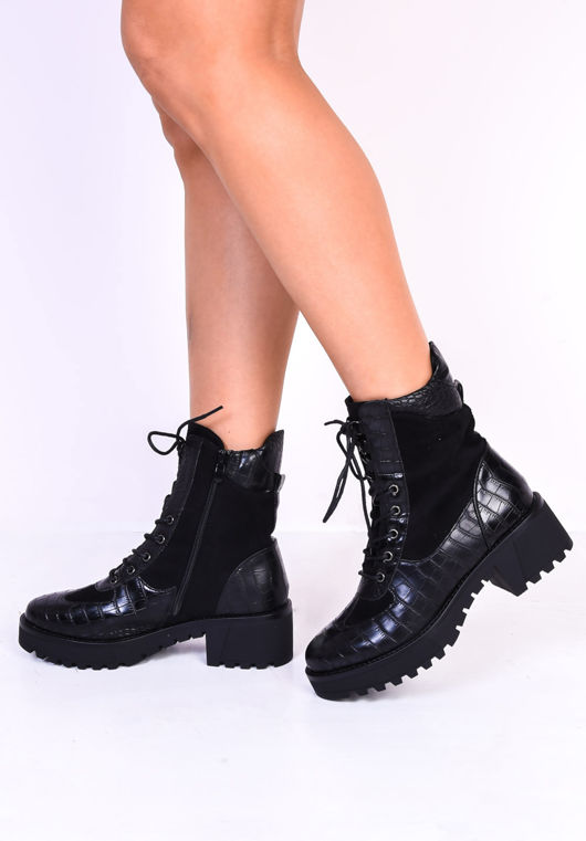 Cleated Block Heel Lace Up Croc Patent Ankle Boots Black