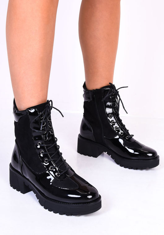 Cleated Block Heel Lace Up Zip Detail Patent Ankle Boots Black