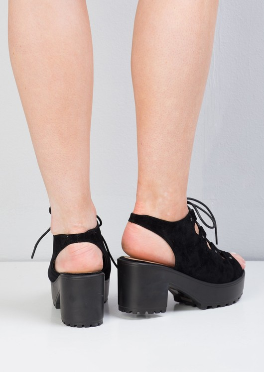 Cleated Platform Lace Up Cut Out Block Heel Sandals Black