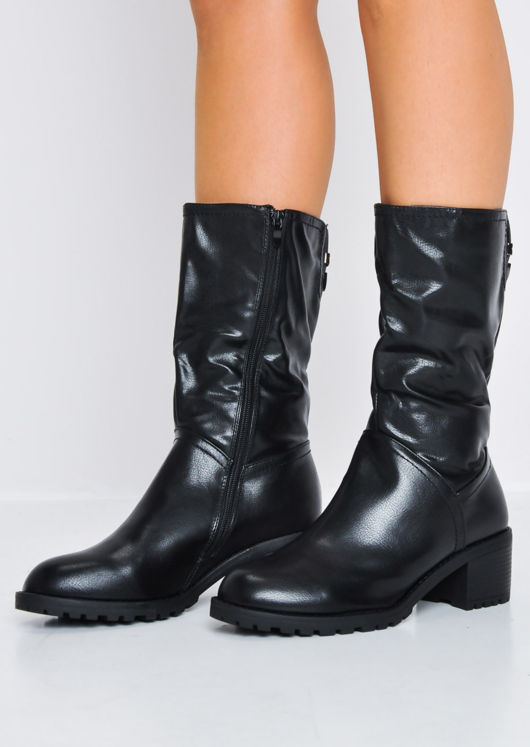 Cleated Sole Chunky Block Heel Biker Calf Boots Black