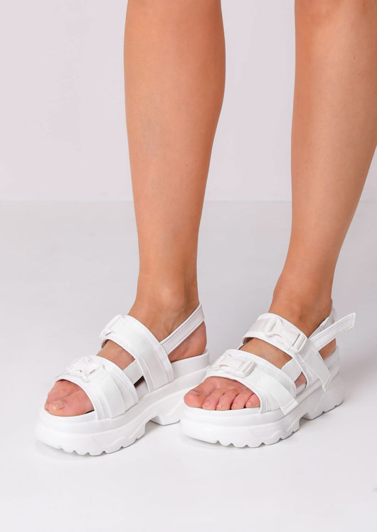 Cleated Sole Chunky Buckle Strap Sandals White