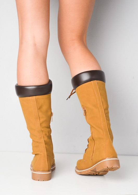Cleated Sole Lace Up Calf Knee Boots Tan Brown