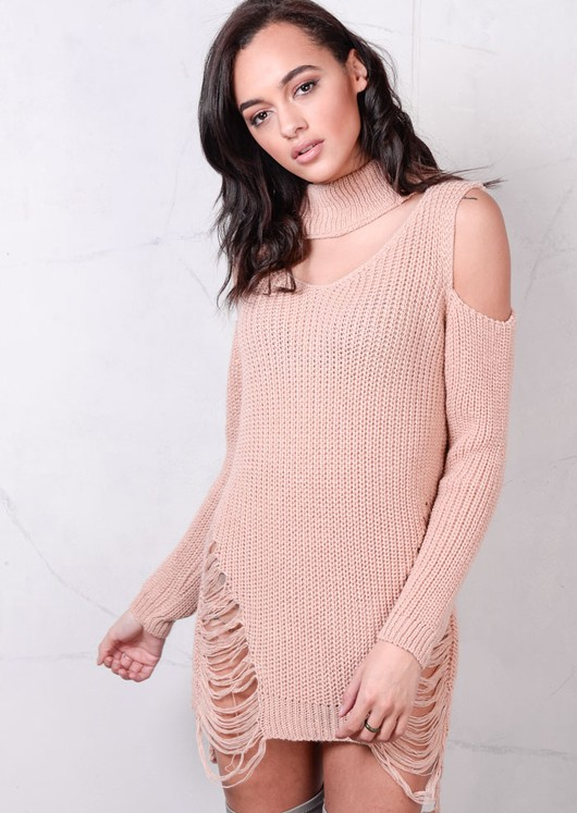 Cold Shoulder Chunky Knit Long Sleeve Jumper Dress Pink