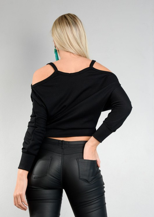 Cold Shoulder Small Ribbed Top Black