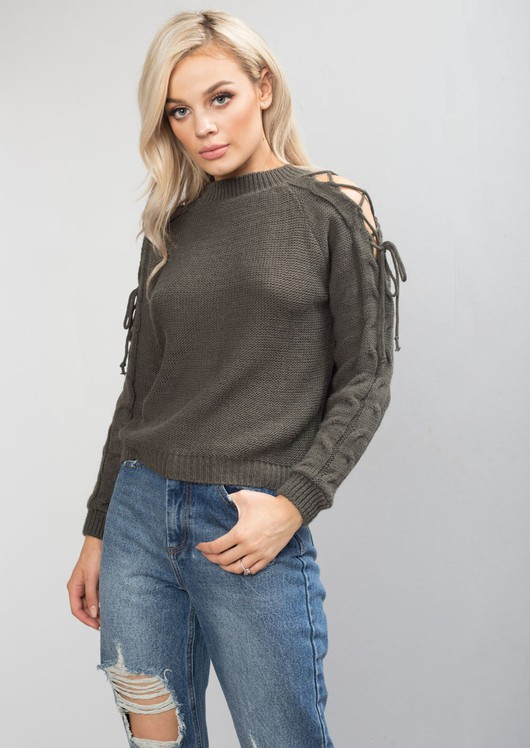 Cold Shoulder Tie Knit Jumper Khaki Green