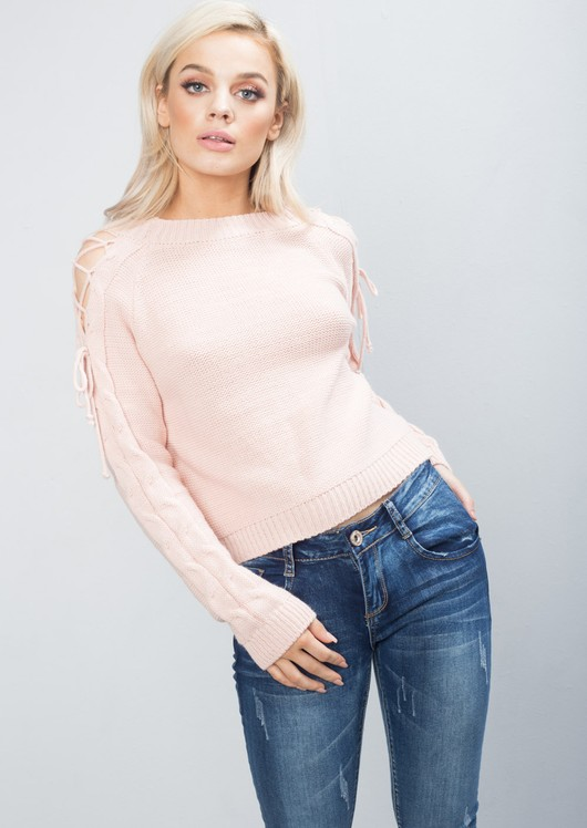 Cold Shoulder Lace Up Knit Jumper Pink