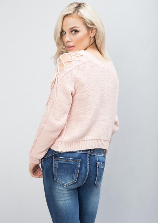 Cold Shoulder Lace Up Knit Jumper Pink