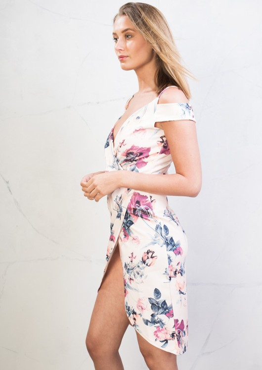 Cold Shoulder Wrap Dress Floral Pink
