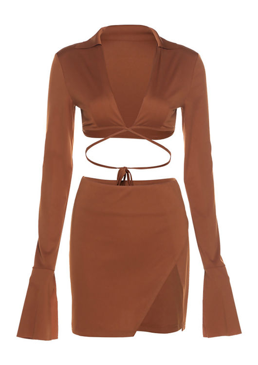 Collared Bell Sleeve Crop Top And Wrap Over Side Split Mini Skirt Co-Ord Set Brown