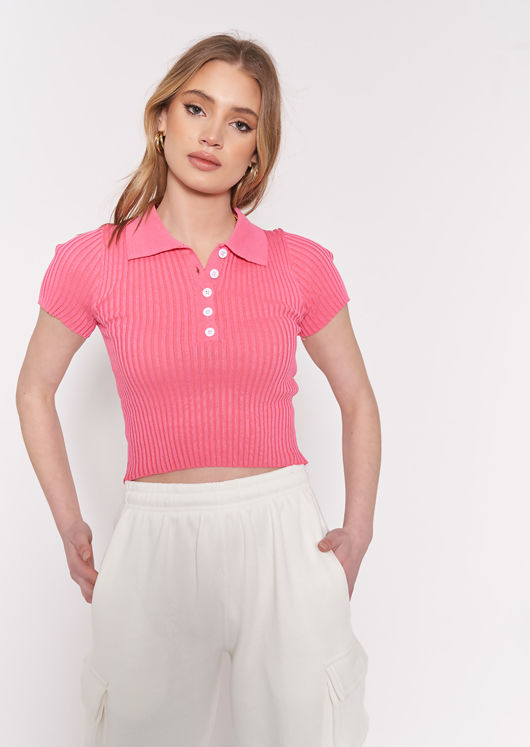 Collared Knitted Crop Top Fuchsia Pink
