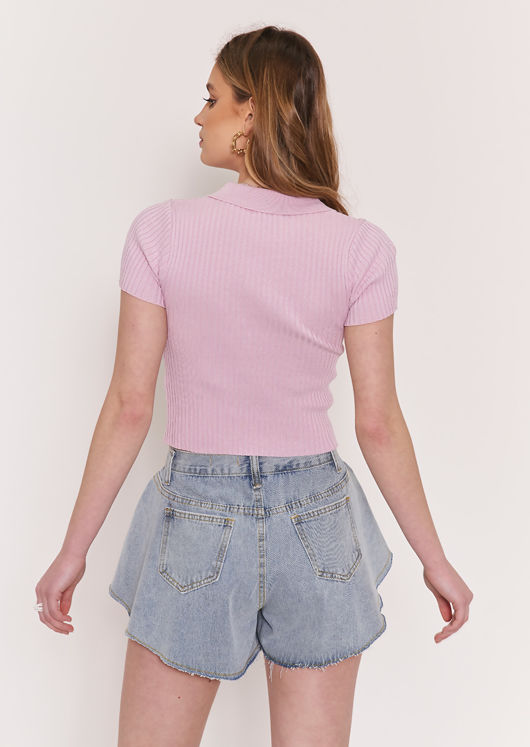 Collared Knitted Crop Top Lavender Purple