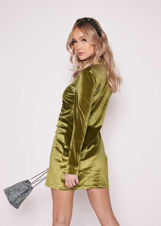 Collared Ruched Button Down Velvet Long Sleeve Shirt Dress Green