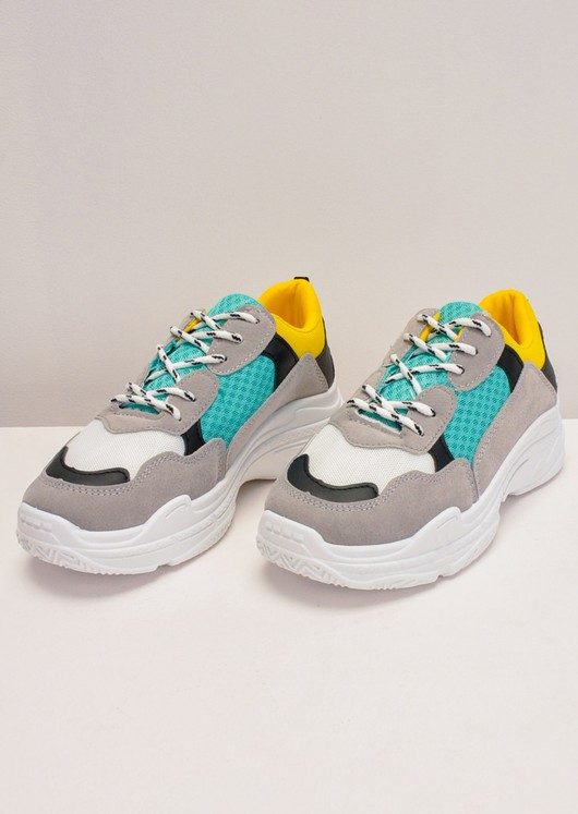 Colour Block Chunky Lace Up Trainers Yellow
