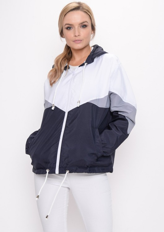 Colour Block Hooded Jacket Navy Blue