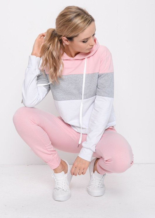 Colour Block Stripe Hooded Loungewear Set Pink