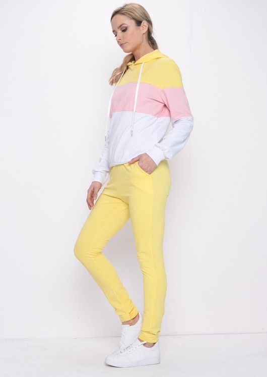 Colour Block Stripe Hooded Loungewear Set Yellow