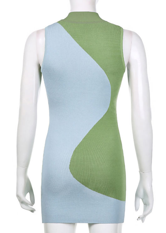 Colour Blocked Swirl Patterned Knitted Mini Dress Blue